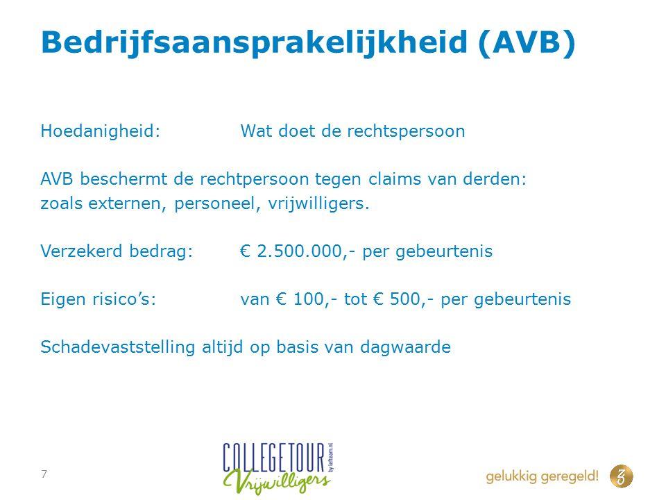 Bedrijfsaansprakelijkheid (AVB) Hoedanigheid:Wat doet de rechtspersoon AVB beschermt de rechtpersoon tegen claims van derden: zoals externen, personeel, vrijwilligers.