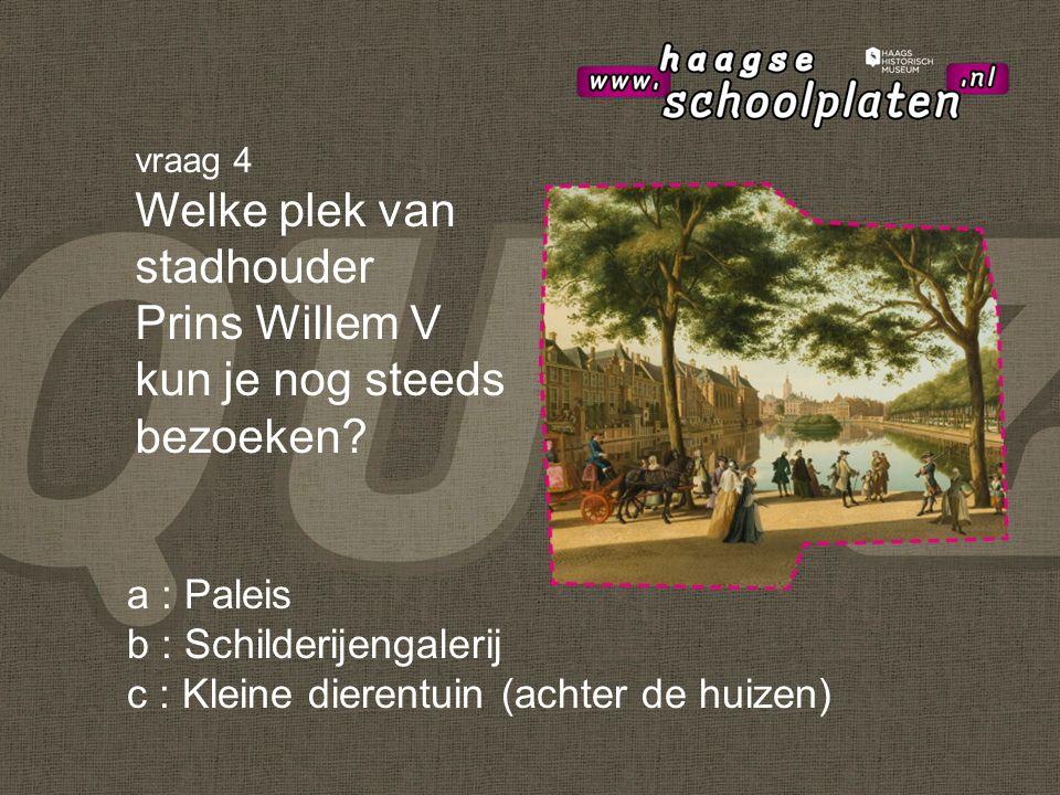 a : Paleis b : Schilderijengalerij c : Kleine dierentuin (achter de huizen) vraag 4 Welke plek van stadhouder Prins Willem V kun je nog steeds bezoeken