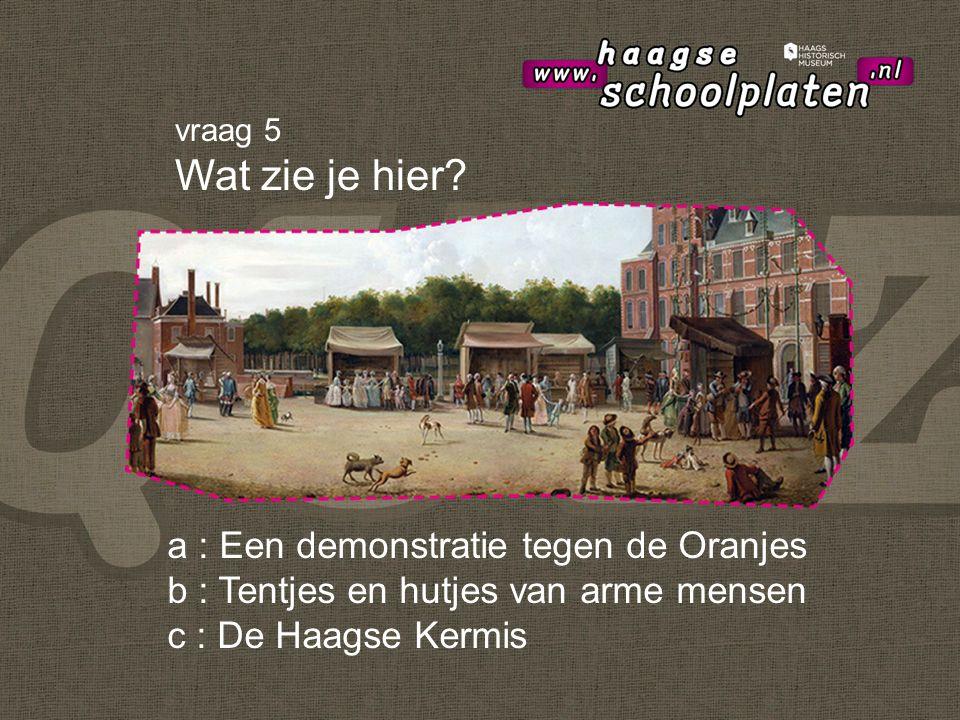 a : Een demonstratie tegen de Oranjes b : Tentjes en hutjes van arme mensen c : De Haagse Kermis vraag 5 Wat zie je hier