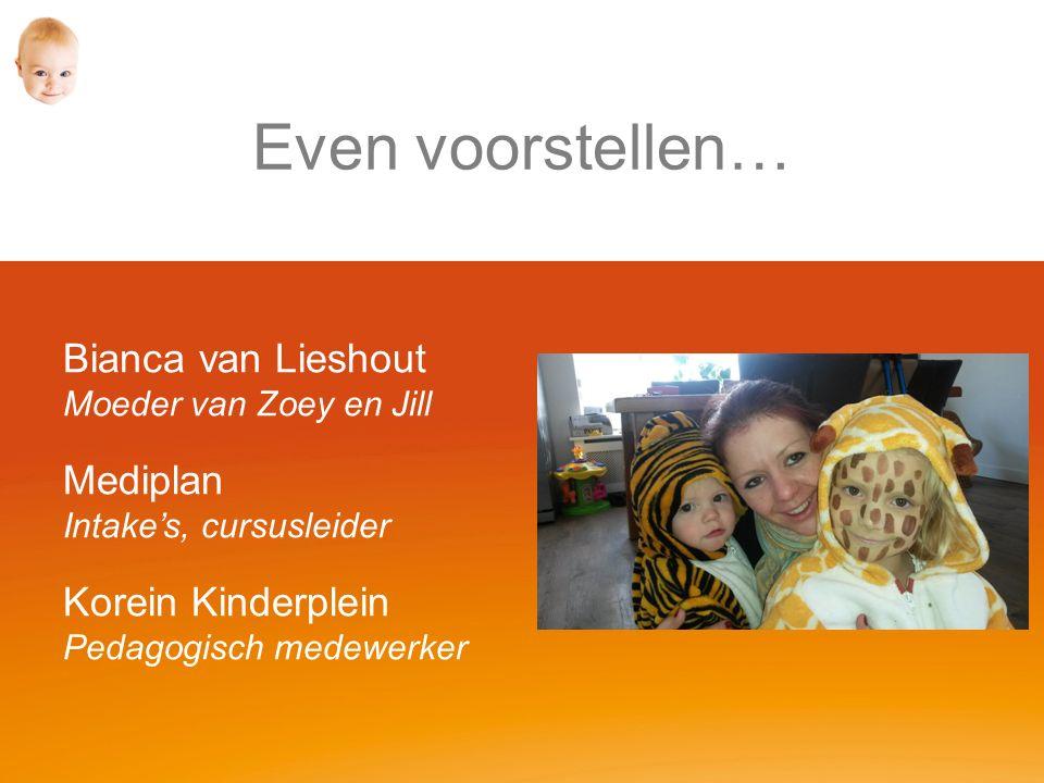 Even voorstellen… Bianca van Lieshout Moeder van Zoey en Jill Mediplan Intake's, cursusleider Korein Kinderplein Pedagogisch medewerker