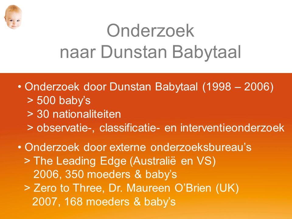 Onderzoek naar Dunstan Babytaal Onderzoek door Dunstan Babytaal (1998 – 2006) > 500 baby's > 30 nationaliteiten > observatie-, classificatie- en interventieonderzoek Onderzoek door externe onderzoeksbureau's > The Leading Edge (Australië en VS) 2006, 350 moeders & baby's > Zero to Three, Dr.