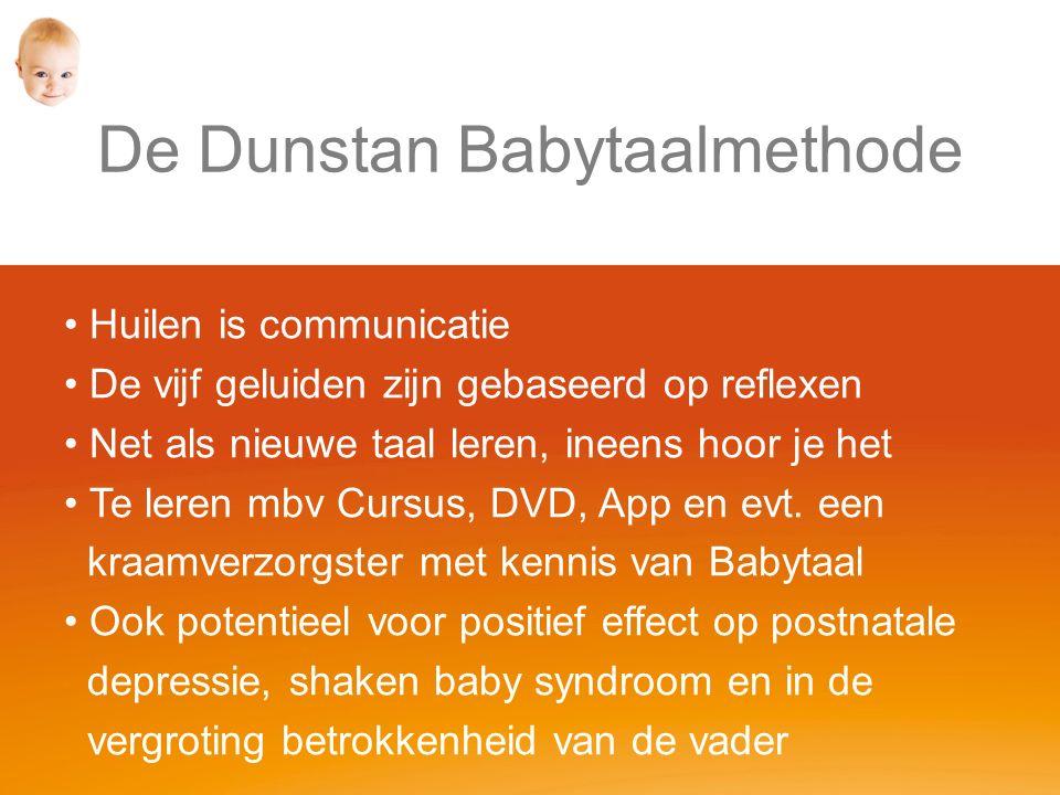 De Dunstan Babytaalmethode Huilen is communicatie De vijf geluiden zijn gebaseerd op reflexen Net als nieuwe taal leren, ineens hoor je het Te leren mbv Cursus, DVD, App en evt.