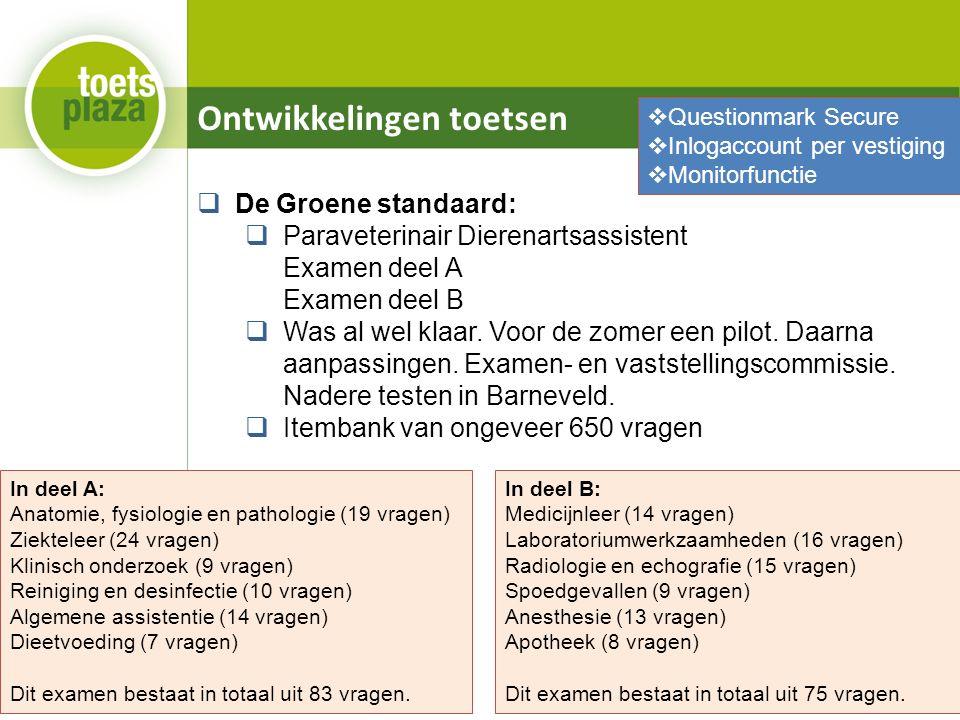 Ontwikkelingen toetsen  De Groene standaard:  Paraveterinair Dierenartsassistent Examen deel A Examen deel B  Was al wel klaar.