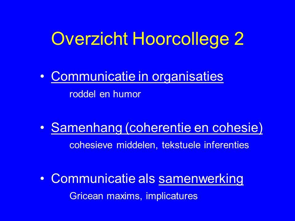 Overzicht Hoorcollege 2 Communicatie in organisaties roddel en humor Samenhang (coherentie en cohesie) cohesieve middelen, tekstuele inferenties Commu