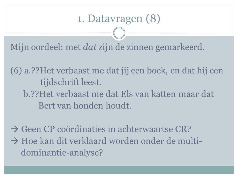 1. Datavragen (8) Mijn oordeel: met dat zijn de zinnen gemarkeerd.