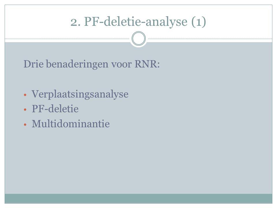 2. PF-deletie-analyse (1) Drie benaderingen voor RNR: Verplaatsingsanalyse PF-deletie Multidominantie