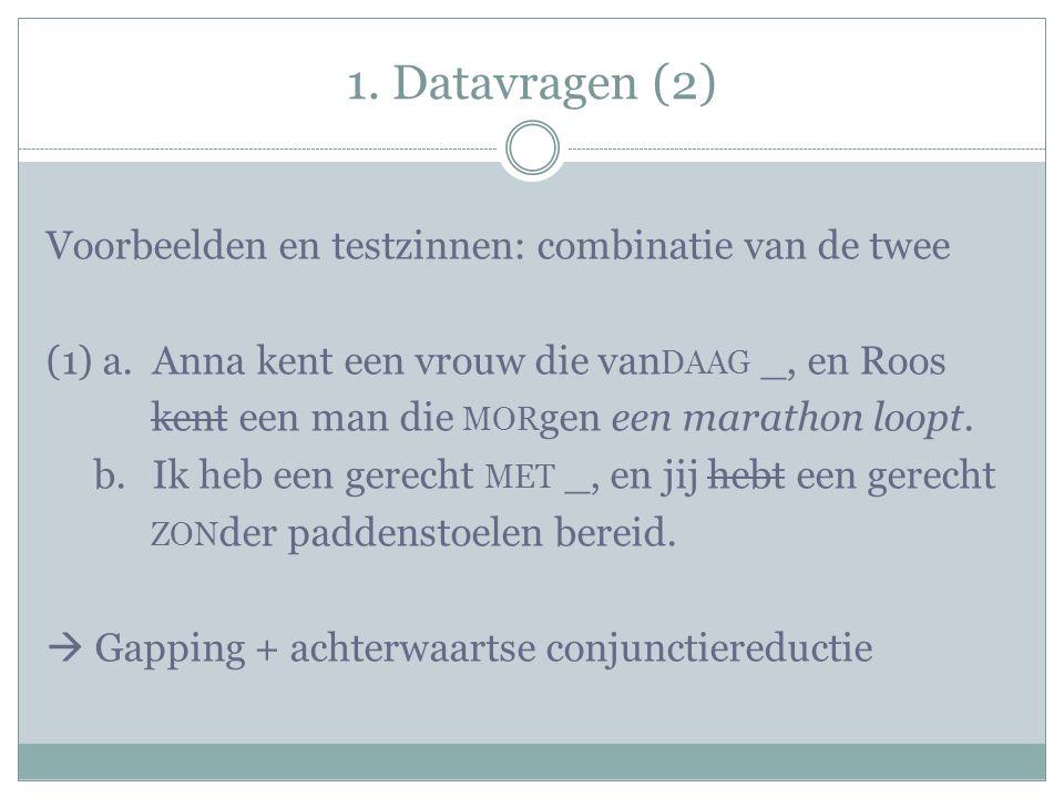 1. Datavragen (2) Voorbeelden en testzinnen: combinatie van de twee (1) a.Anna kent een vrouw die van DAAG _, en Roos kent een man die MOR gen een mar