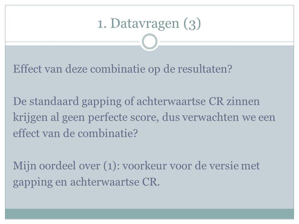 1. Datavragen (3) Effect van deze combinatie op de resultaten.