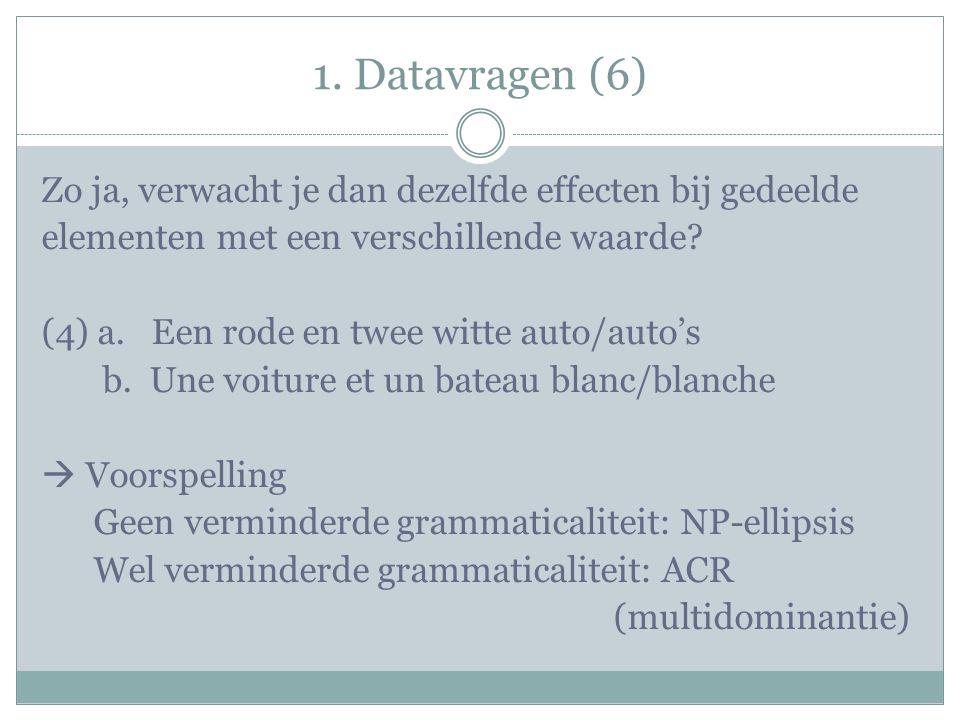 1. Datavragen (6) Zo ja, verwacht je dan dezelfde effecten bij gedeelde elementen met een verschillende waarde? (4) a. Een rode en twee witte auto/aut