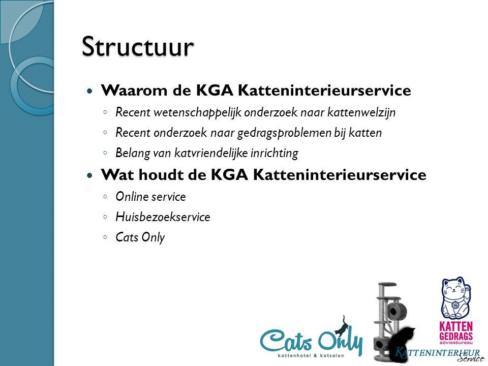 Structuur Waarom de KGA Katteninterieurservice ◦ Recent wetenschappelijk onderzoek naar kattenwelzijn ◦ Recent onderzoek naar gedragsproblemen bij kat