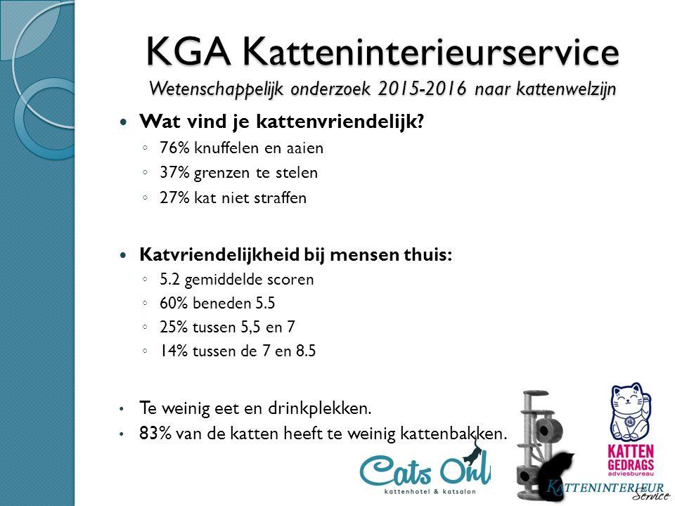 KGA Katteninterieurservice Onderzoek 2014-2015 naar trend in gedragsproblemen bij katten in Nederland Meest voorkomende gedragsproblemen bij katten in Nederland Onzindelijkheid en sproeien Gezondheid; Woonsituatie; Scheidingsleeftijd; Aantal kattenspullen.