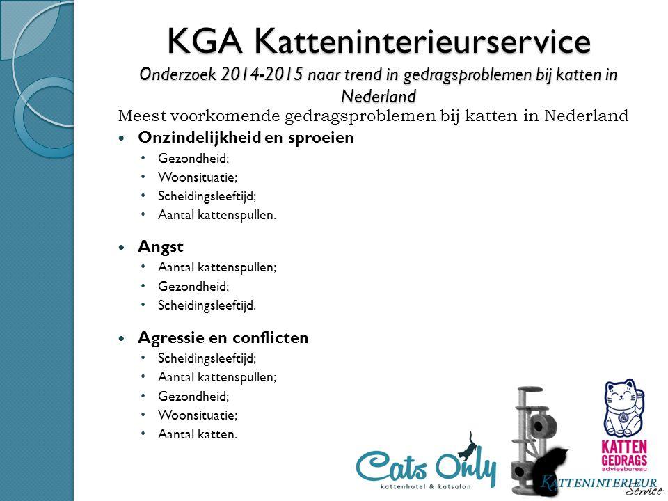 KGA Katteninterieurservice Onderzoek 2014-2015 naar trend in gedragsproblemen bij katten in Nederland Meest voorkomende gedragsproblemen bij katten in