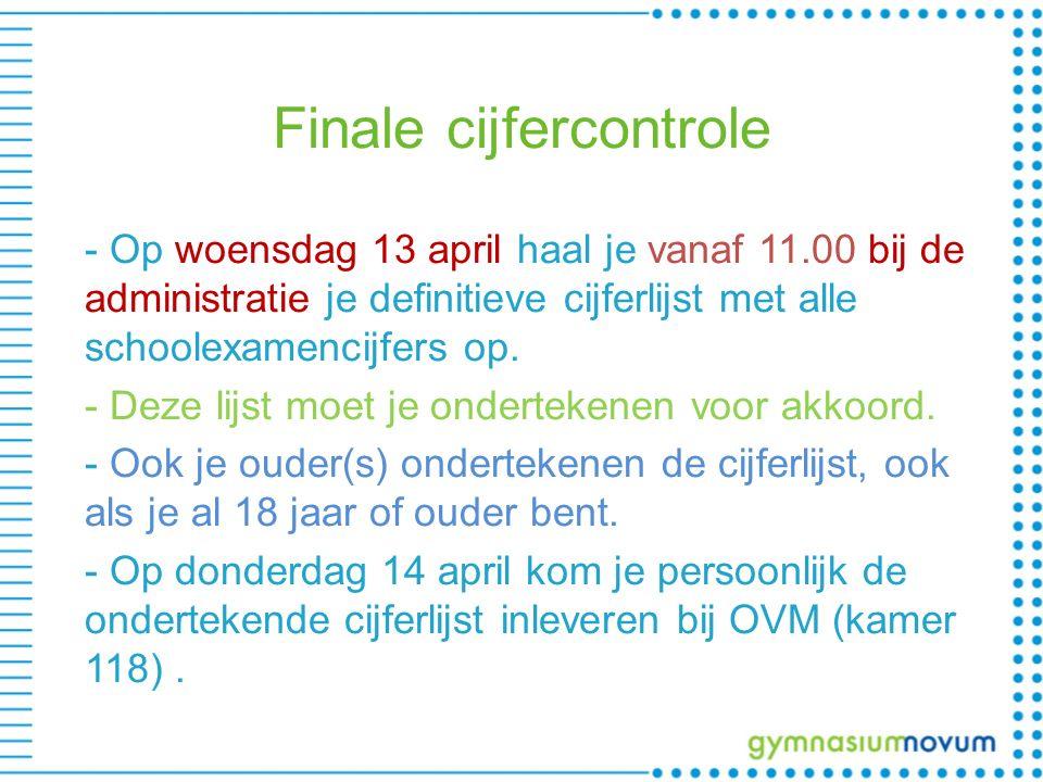 Finale cijfercontrole - Op woensdag 13 april haal je vanaf 11.00 bij de administratie je definitieve cijferlijst met alle schoolexamencijfers op. - De
