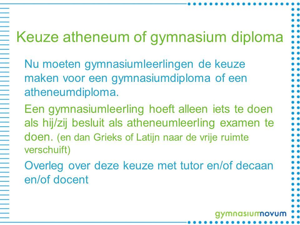 Keuze atheneum of gymnasium diploma Nu moeten gymnasiumleerlingen de keuze maken voor een gymnasiumdiploma of een atheneumdiploma.