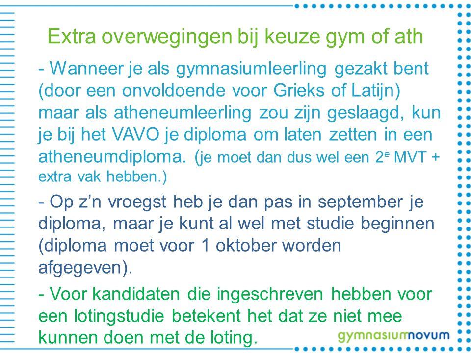 Extra overwegingen bij keuze gym of ath - Wanneer je als gymnasiumleerling gezakt bent (door een onvoldoende voor Grieks of Latijn) maar als atheneuml