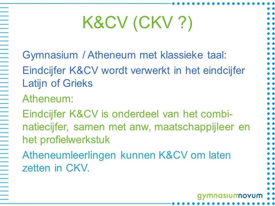 K&CV (CKV ) Gymnasium / Atheneum met klassieke taal: Eindcijfer K&CV wordt verwerkt in het eindcijfer Latijn of Grieks Atheneum: Eindcijfer K&CV is onderdeel van het combi- natiecijfer, samen met anw, maatschappijleer en het profielwerkstuk Atheneumleerlingen kunnen K&CV om laten zetten in CKV.