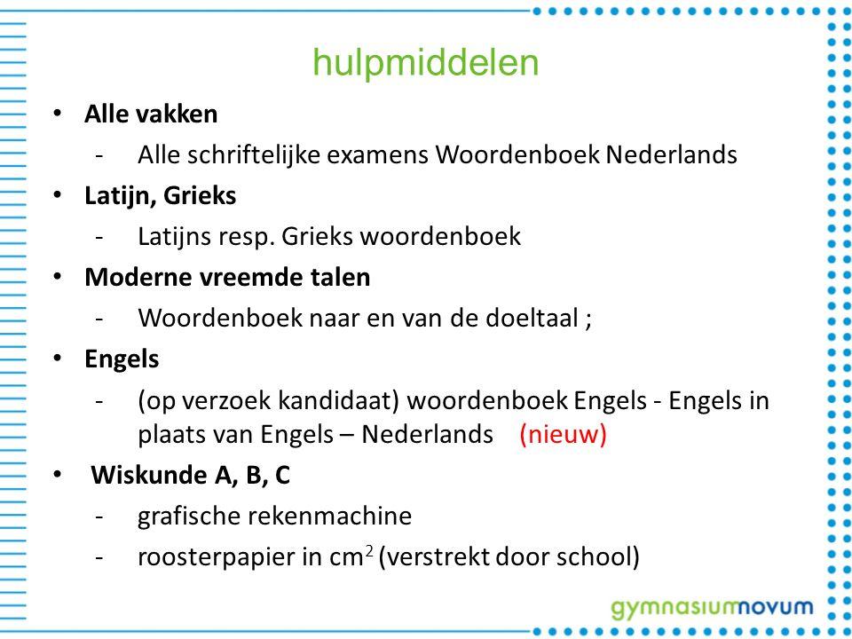 hulpmiddelen Alle vakken -Alle schriftelijke examens Woordenboek Nederlands Latijn, Grieks -Latijns resp.