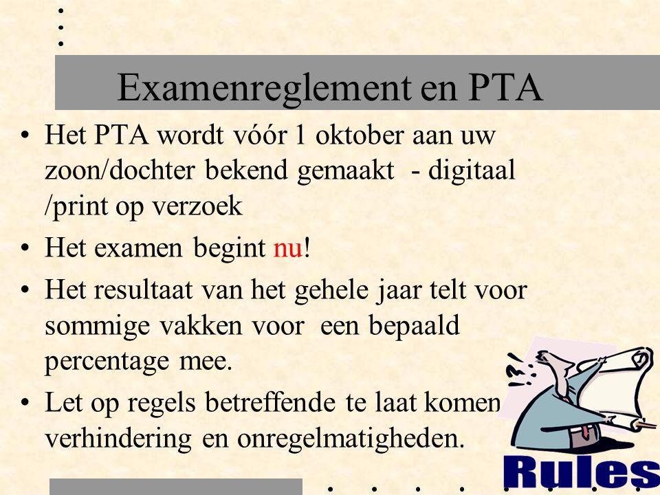 Examenreglement en PTA Het PTA wordt vóór 1 oktober aan uw zoon/dochter bekend gemaakt - digitaal /print op verzoek Het examen begint nu.