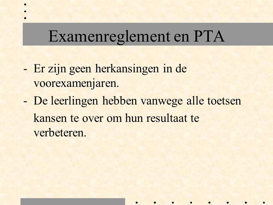 Examenreglement en PTA -Er zijn geen herkansingen in de voorexamenjaren.
