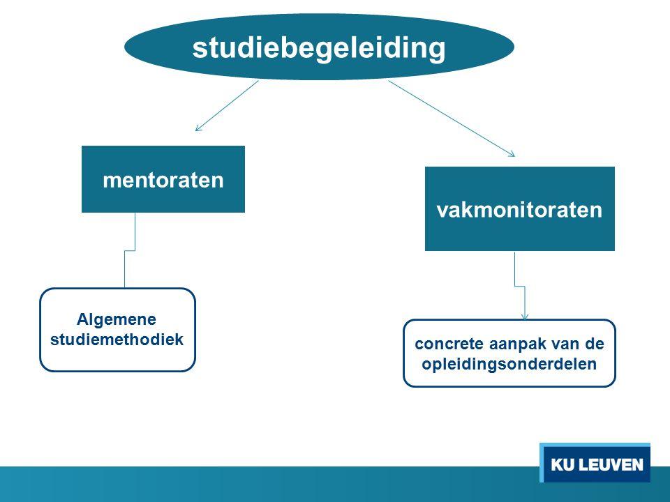 studiebegeleiding mentoraten vakmonitoraten Algemene studiemethodiek concrete aanpak van de opleidingsonderdelen