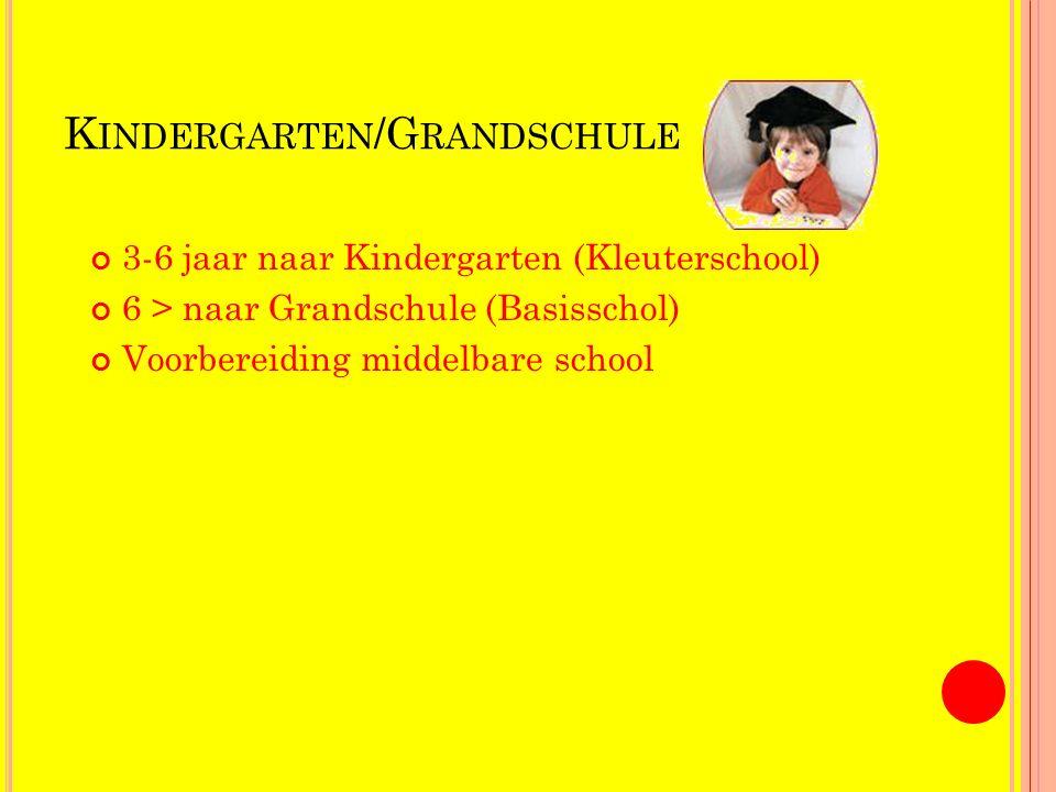 K INDERGARTEN /G RANDSCHULE 3-6 jaar naar Kindergarten (Kleuterschool) 6 > naar Grandschule (Basisschol) Voorbereiding middelbare school