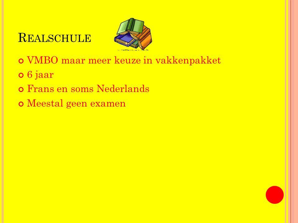 R EALSCHULE VMBO maar meer keuze in vakkenpakket 6 jaar Frans en soms Nederlands Meestal geen examen