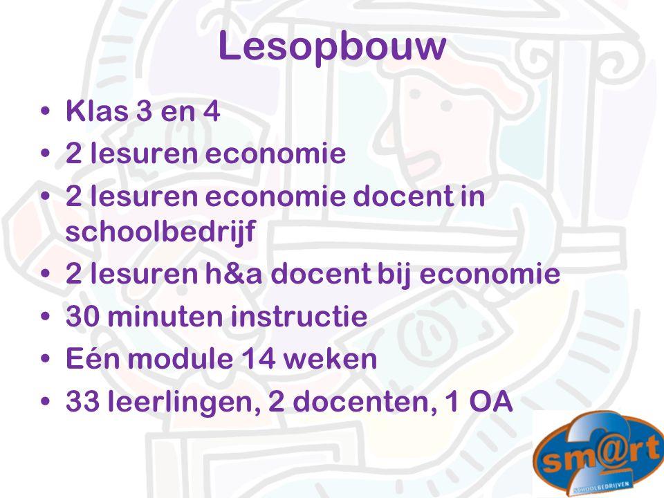 Klas 3 en 4 2 lesuren economie 2 lesuren economie docent in schoolbedrijf 2 lesuren h&a docent bij economie 30 minuten instructie Eén module 14 weken 33 leerlingen, 2 docenten, 1 OA Lesopbouw