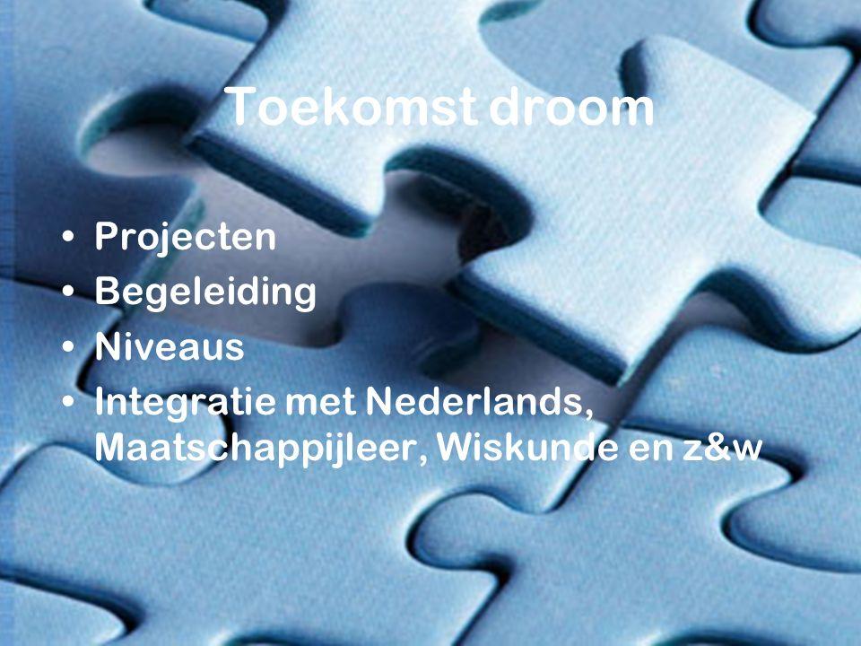 Toekomst droom Projecten Begeleiding Niveaus Integratie met Nederlands, Maatschappijleer, Wiskunde en z&w