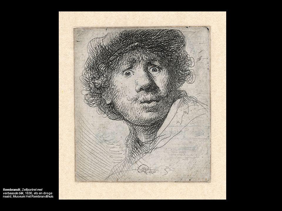Rembrandt, Zelfportret met verbaasde blik, 1630, ets en droge naald, Museum Het Rembrandthuis