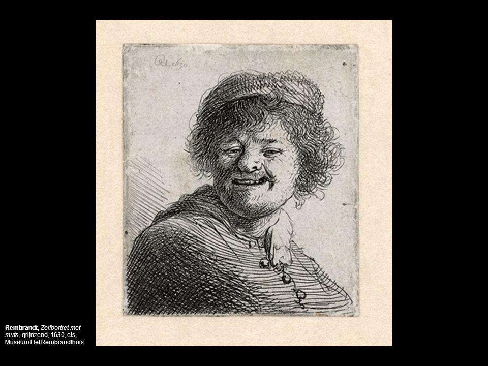 Rembrandt, Zelfportret met muts, grijnzend, 1630, ets, Museum Het Rembrandthuis