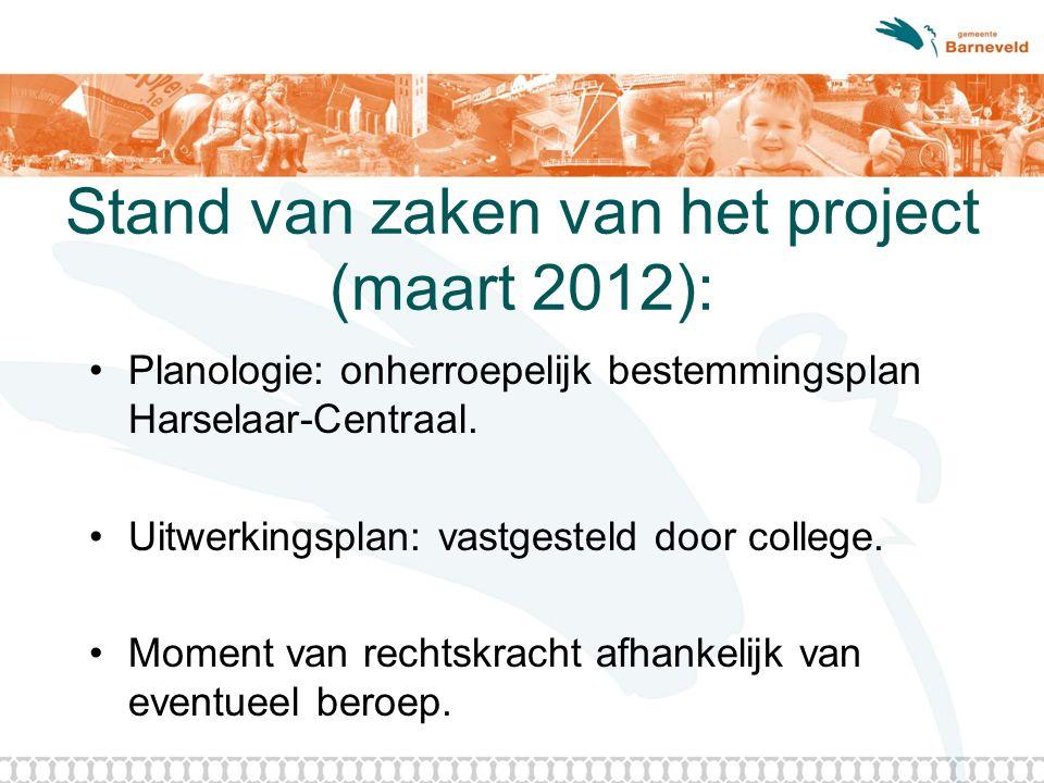 Stand van zaken van het project (maart 2012): Planologie: onherroepelijk bestemmingsplan Harselaar-Centraal. Uitwerkingsplan: vastgesteld door college