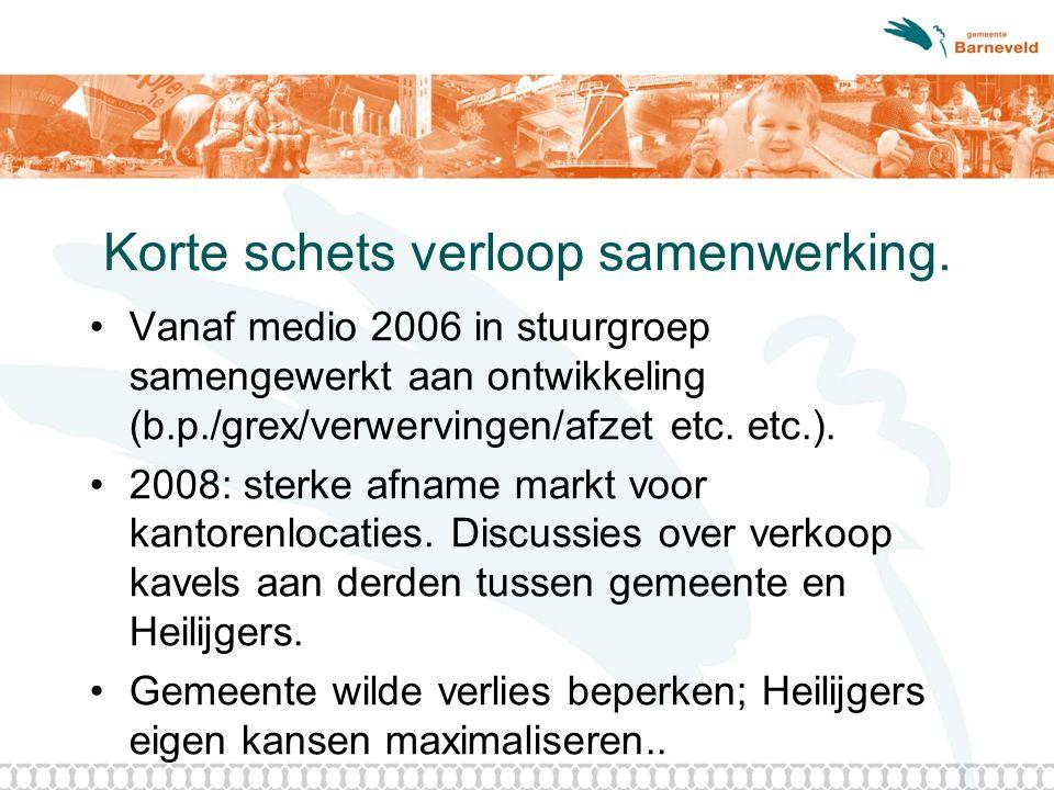 Korte schets verloop samenwerking. Vanaf medio 2006 in stuurgroep samengewerkt aan ontwikkeling (b.p./grex/verwervingen/afzet etc. etc.). 2008: sterke
