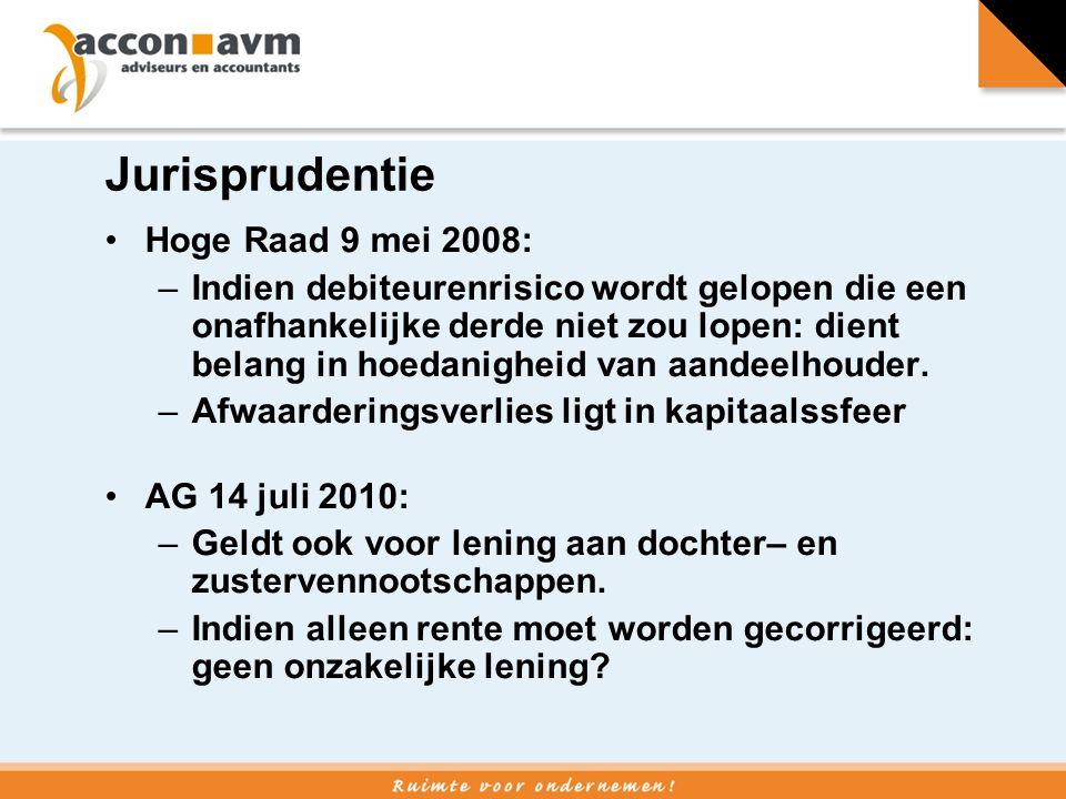 Jurisprudentie Hoge Raad 9 mei 2008: –Indien debiteurenrisico wordt gelopen die een onafhankelijke derde niet zou lopen: dient belang in hoedanigheid van aandeelhouder.