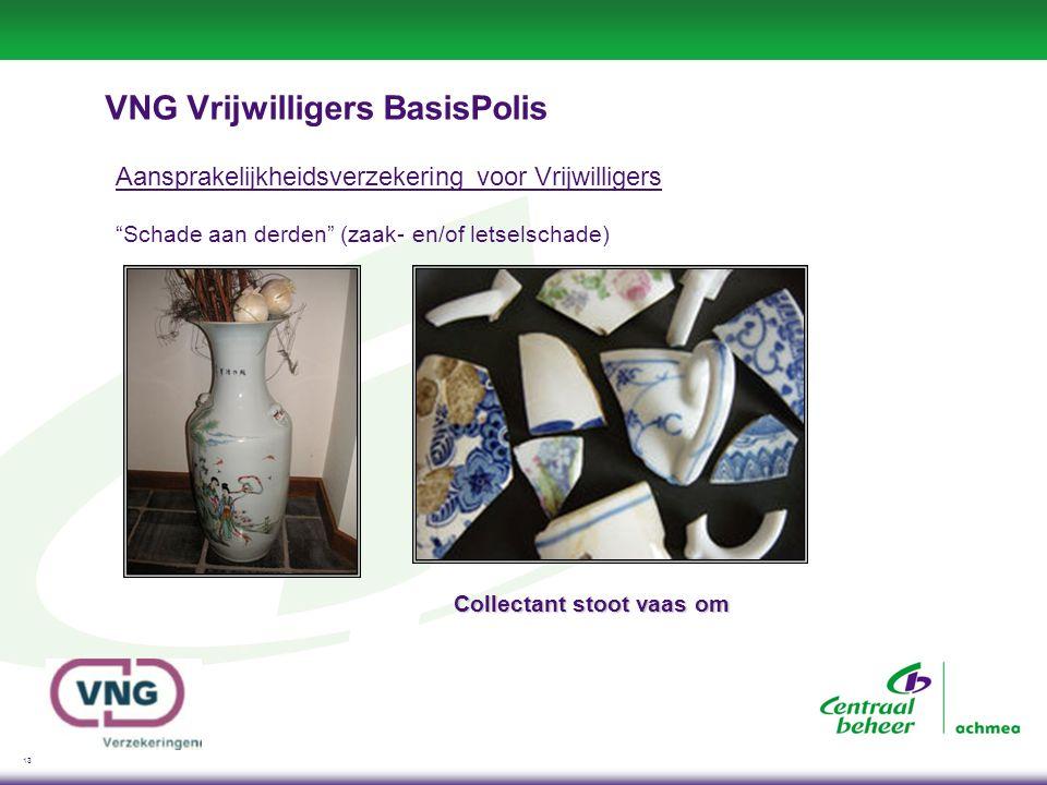 13 VNG Vrijwilligers BasisPolis Aansprakelijkheidsverzekering voor Vrijwilligers Schade aan derden (zaak- en/of letselschade) Collectant stoot vaas om
