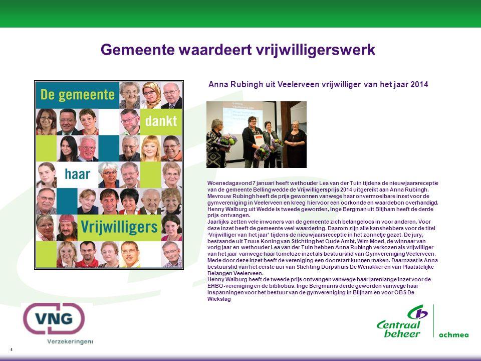 5 Gemeente waardeert vrijwilligerswerk Anna Rubingh uit Veelerveen vrijwilliger van het jaar 2014 Woensdagavond 7 januari heeft wethouder Lea van der