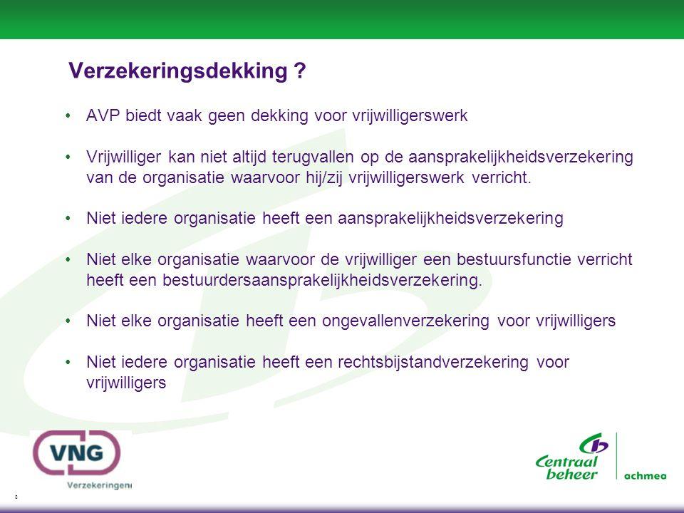 19 Verbetering vrijwilligerspolis -Mantelzorgers nu ook verzekerd Ongevallenverzekering Persoonlijke eigendommenverzekering -Vrijwilligers van een verzekerde gemeente zijn altijd verzekerd -Vereenvoudiging schadeafhandeling (digitaal) -Geen eigen risico -Maatschappelijke stagiairs meeverzekerd Per 1-1-2014 -Inzittenden ook verzekerd op de OV en Verkeersaansprakelijkheid (indien overmacht op WAM en bestuurder is vrijwilliger) -Europadekking (indien activiteit vanuit Nederland georganiseerd) -Verenigingspolis (dekking sluit aan op vrijwilligerspolis / korting ivm vrijwilligerspolis)