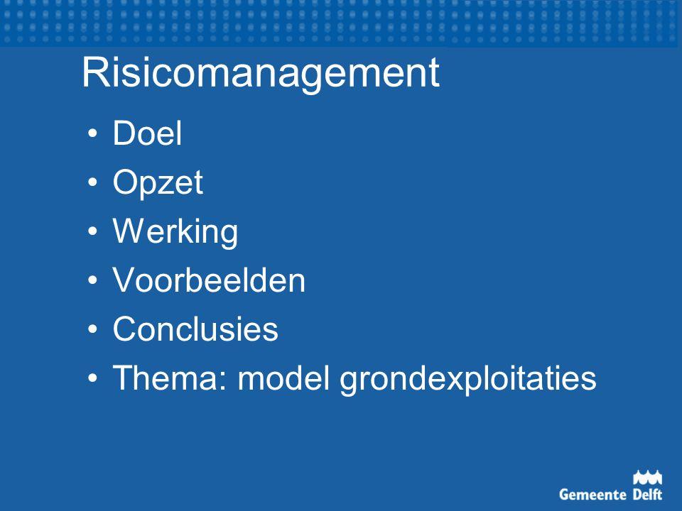 Voorbeelden Programma Milieu en duurzame ontwikkeling Risico 1.
