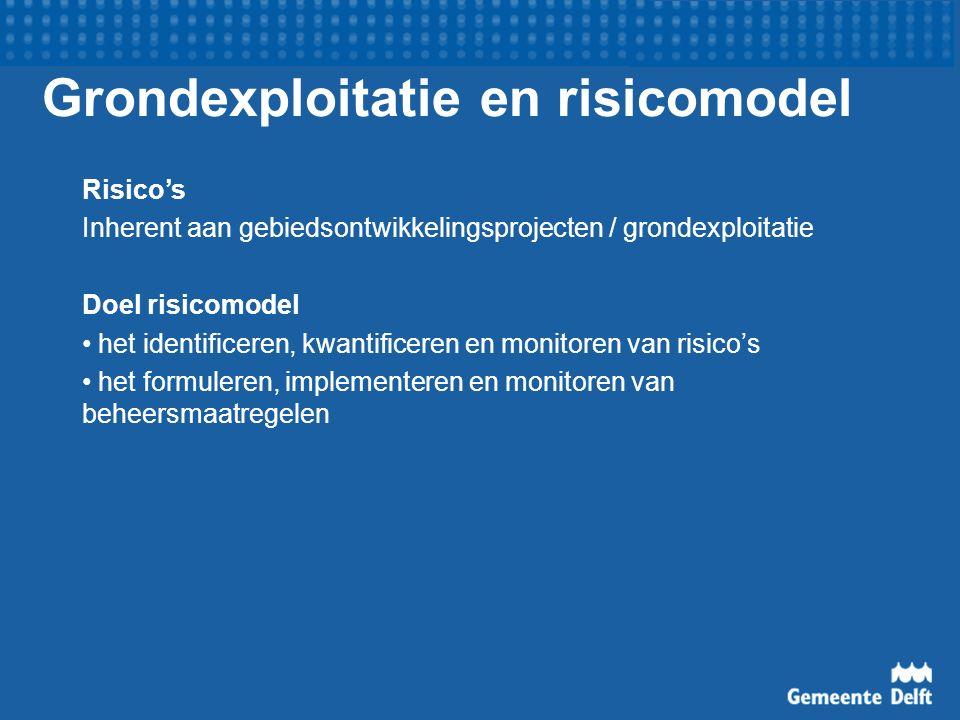 Grondexploitatie en risicomodel Risico's Inherent aan gebiedsontwikkelingsprojecten / grondexploitatie Doel risicomodel het identificeren, kwantificeren en monitoren van risico's het formuleren, implementeren en monitoren van beheersmaatregelen