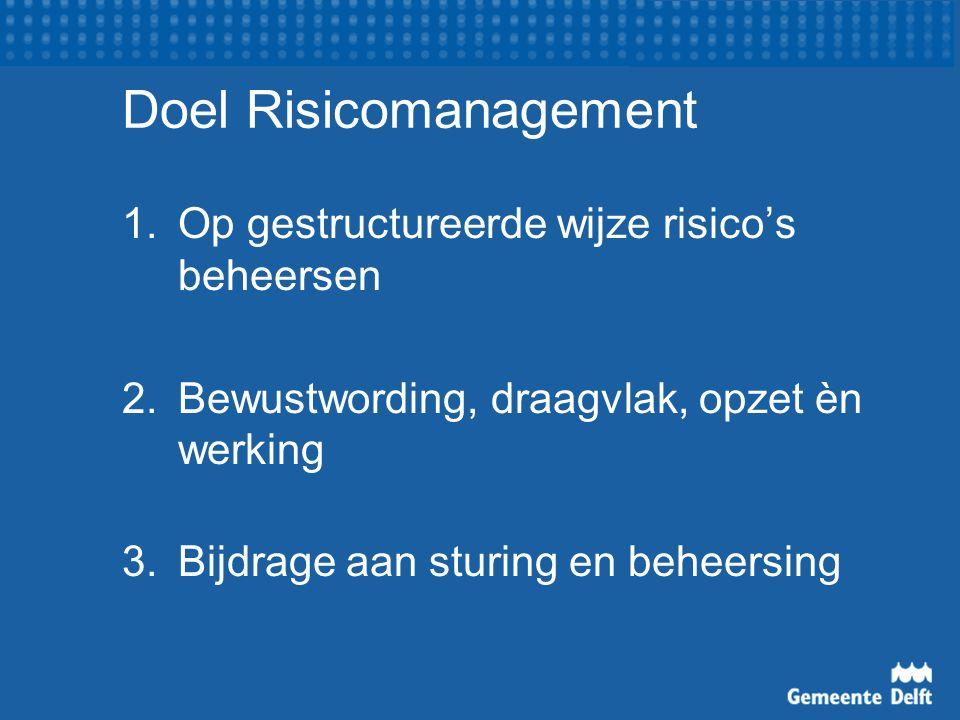 Doel Risicomanagement 1.Op gestructureerde wijze risico's beheersen 2.Bewustwording, draagvlak, opzet èn werking 3.Bijdrage aan sturing en beheersing
