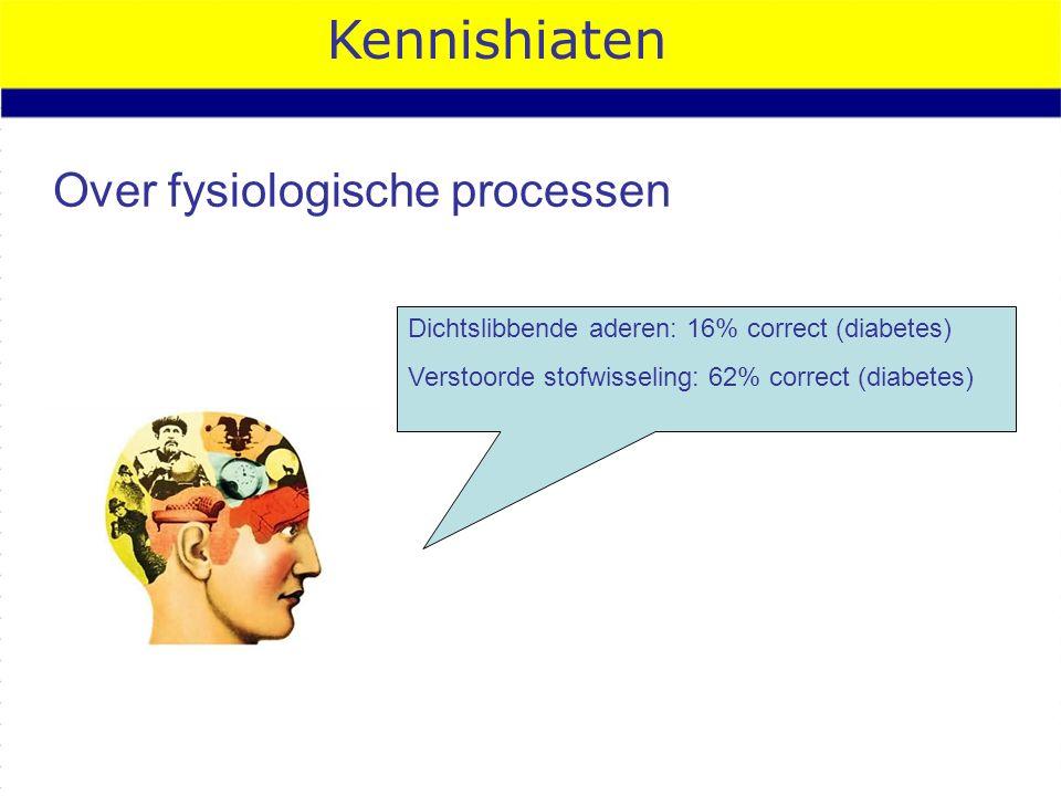 Kennishiaten Over fysiologische processen Dichtslibbende aderen: 16% correct (diabetes) Verstoorde stofwisseling: 62% correct (diabetes)