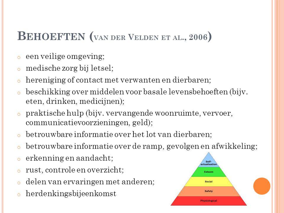 B EHOEFTEN ( VAN DER V ELDEN ET AL., 2006 ) o een veilige omgeving; o medische zorg bij letsel; o hereniging of contact met verwanten en dierbaren; o