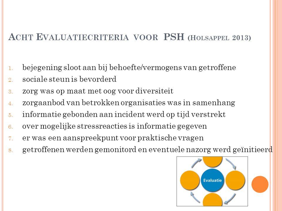 A CHT E VALUATIECRITERIA VOOR PSH (H OLSAPPEL 2013) 1. bejegening sloot aan bij behoefte/vermogens van getroffene 2. sociale steun is bevorderd 3. zor