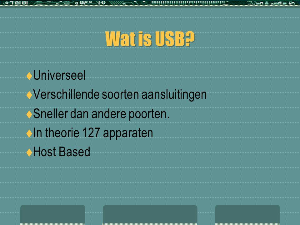 Wat is USB.  Universeel  Verschillende soorten aansluitingen  Sneller dan andere poorten.
