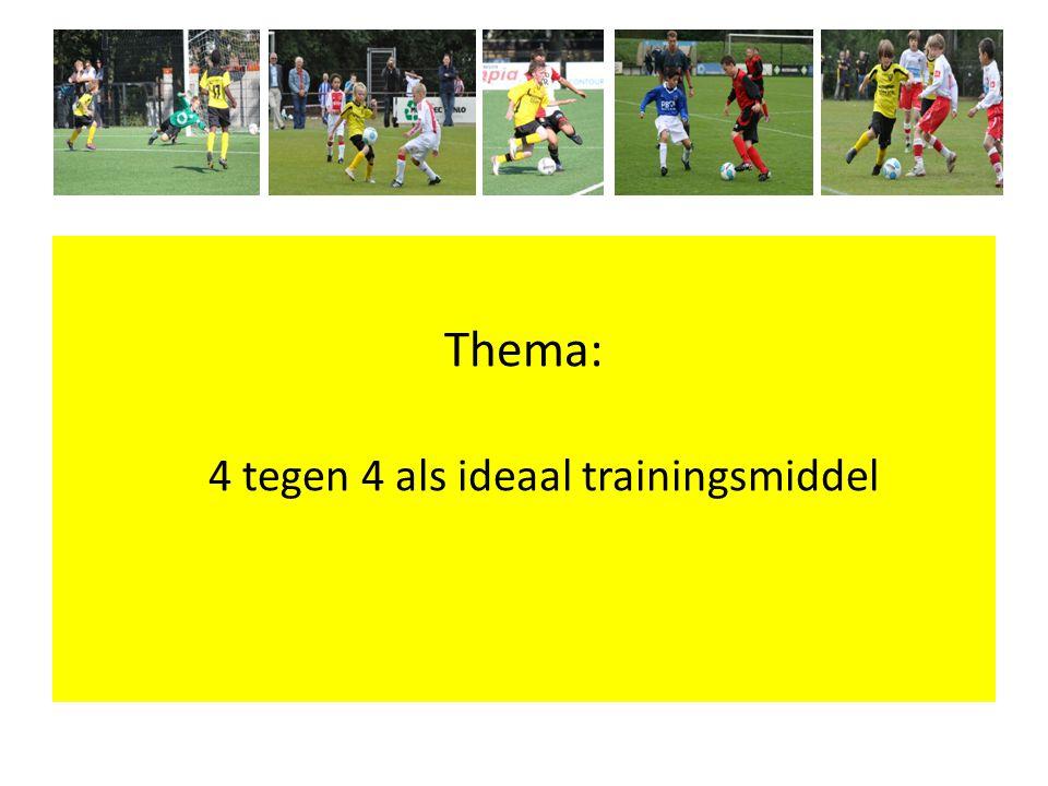 4 tegen 4 -Coaching (Wat wil je als coach terug zien?) - Per teamfunctie / taak / positie accenten leggen - Ontwikkeling speelwijze - Op voetbalhandelingen - Conditie / volhouden - Leeftijd- / niveau specifiek - Situatiegericht - Beleving / Plezier