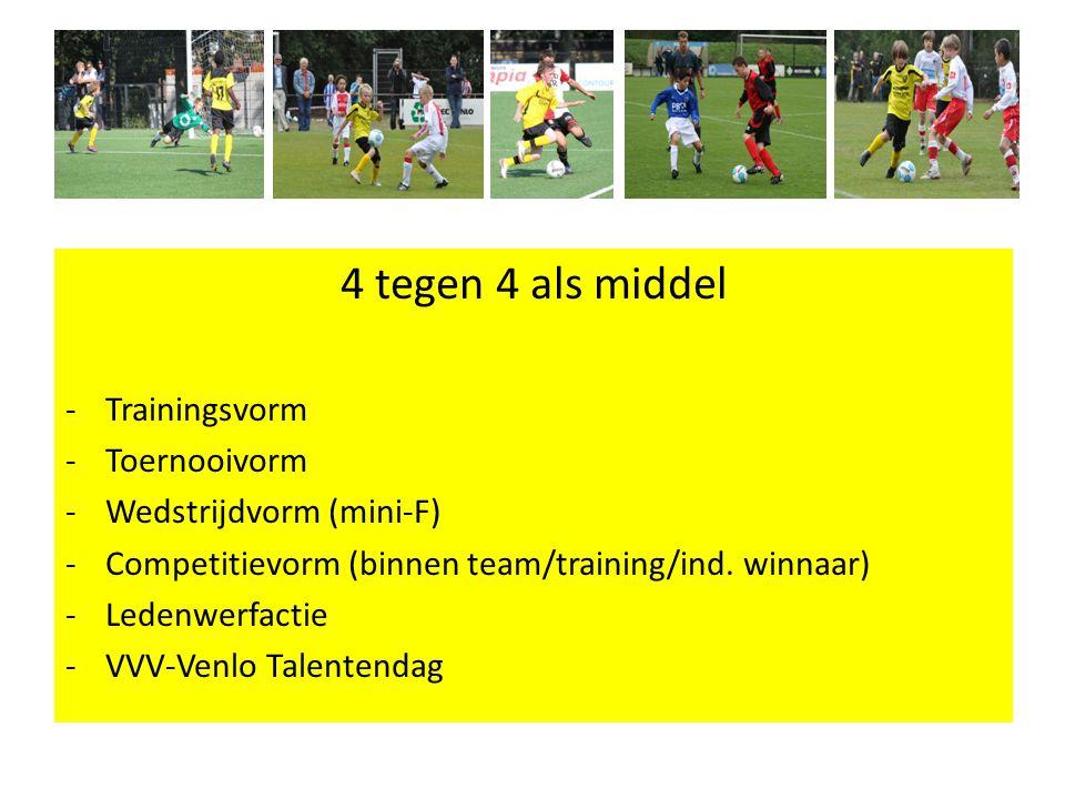4 tegen 4 als middel - Trainingsvorm -Toernooivorm -Wedstrijdvorm (mini-F) -Competitievorm (binnen team/training/ind.