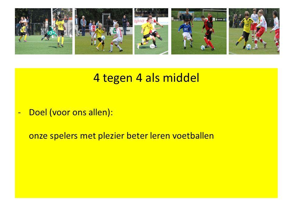 4 tegen 4 als middel -Doel (voor ons allen): onze spelers met plezier beter leren voetballen