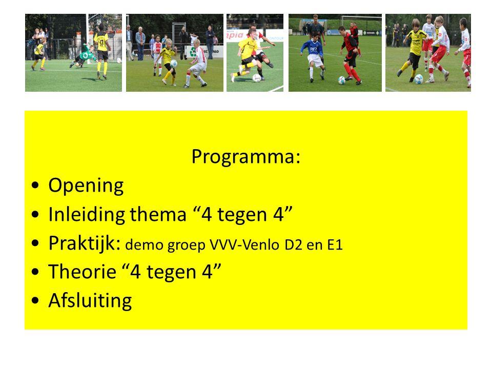 Programma: Opening Inleiding thema 4 tegen 4 Praktijk: demo groep VVV-Venlo D2 en E1 Theorie 4 tegen 4 Afsluiting