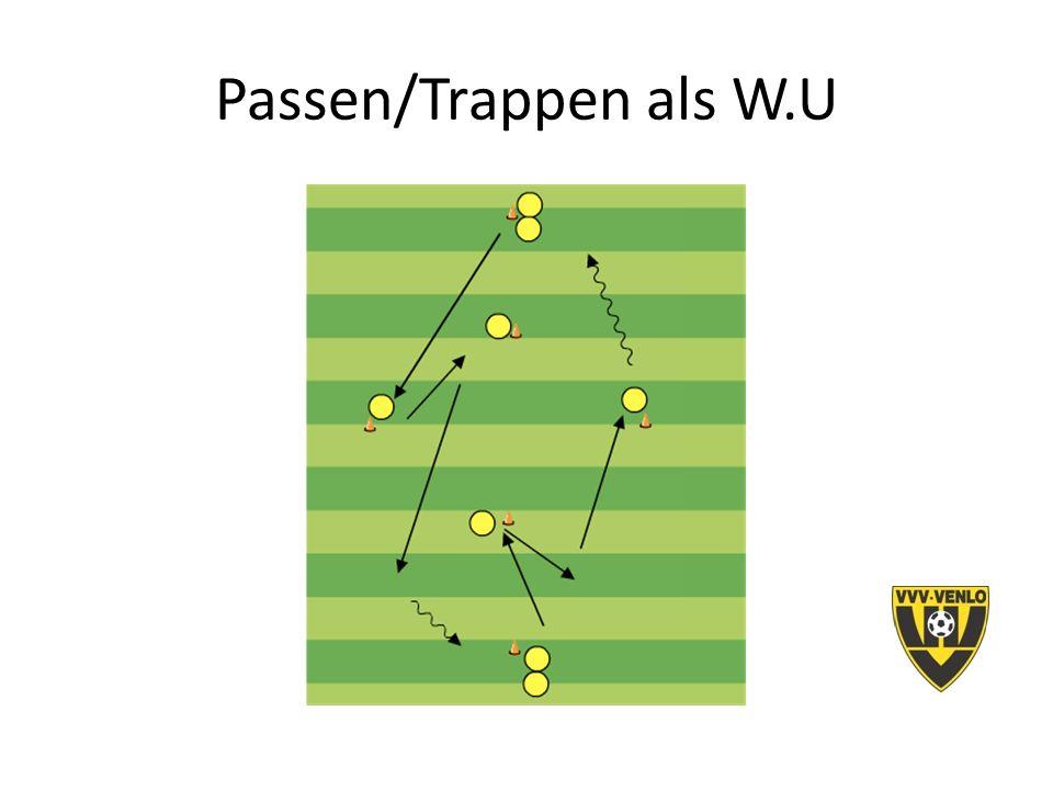 4 tegen 4 -Voetbalhandelingen met en zonder bal (keuzes) -Veel herhalingsmogelijkheden / balcontacten -Alle teamfunctie: A/V/O -Wedstrijdelement / scoren / plezier -Kleinste echte wedstrijdvorm