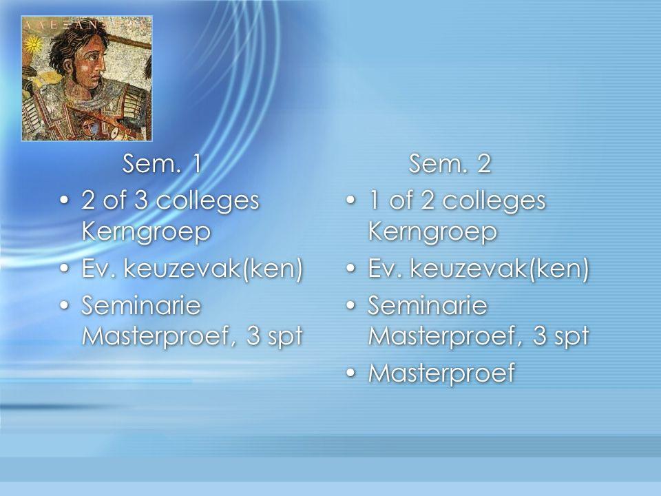 Sem. 1 2 of 3 colleges Kerngroep Ev. keuzevak(ken) Seminarie Masterproef, 3 spt Sem.