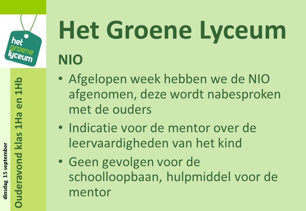 Ouderavond klas 1Ha en 1Hb dinsdag 15 september Het Groene Lyceum NIO Afgelopen week hebben we de NIO afgenomen, deze wordt nabesproken met de ouders